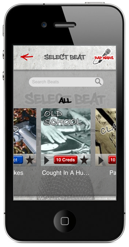 Select Beat from 100s of Rap Beats iPhone