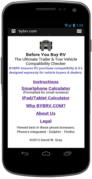 Go to BYBRV.com on Your Mobile Device