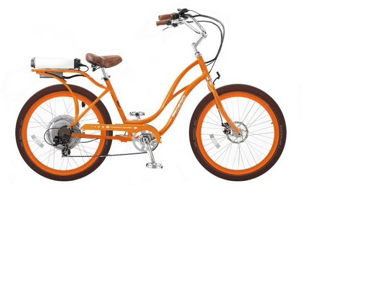 Pedego Electric Bikes presents California-style cruisers in fashionable colors.