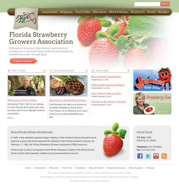 A fresh design for the Florida Strawberry Growers Association's website.