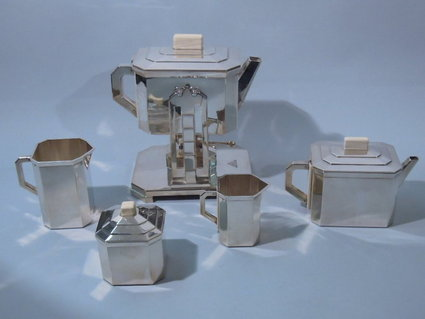art deco antique sterling silver tea set