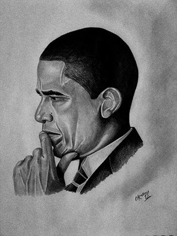 President Obama Portrait Drawn By Brad Talley