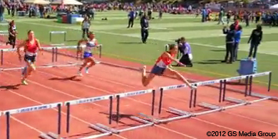 Brisa Guzman-Sanchez setting VYC league 100 meter hurdle record.