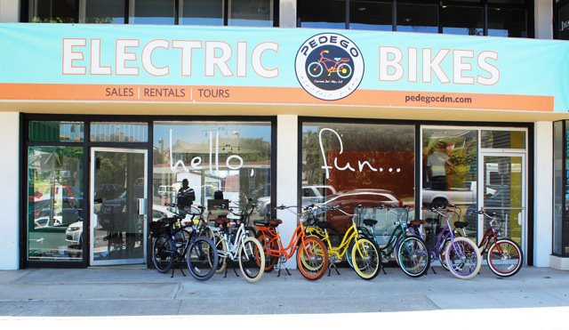 Pedego's colorful storefront adds more fun to Corona del Mar's seaside ambiance.