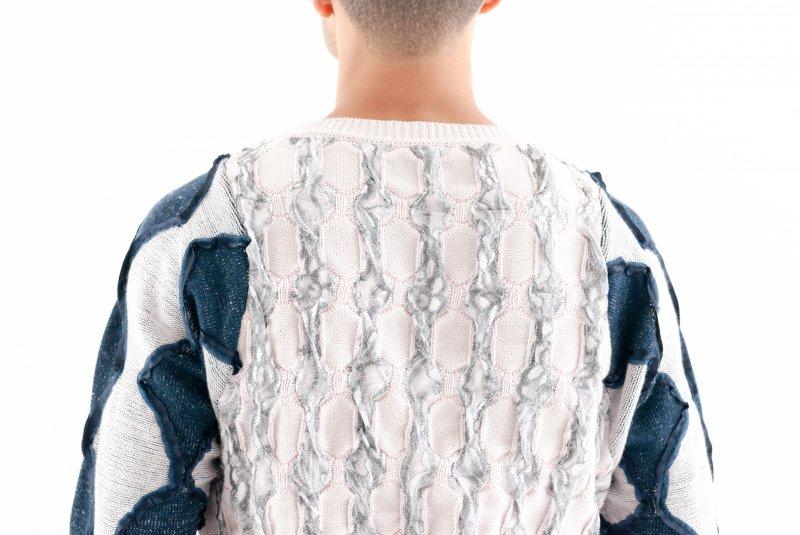 Scott Ian McFarland Knitwear- Men's Sweater with lacing detail.