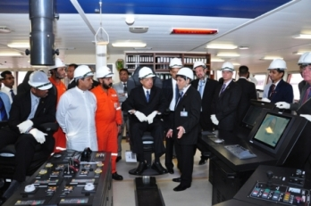 His Excellency James Alix Michel inspecting the OSV Greatship Roopa built by CDL