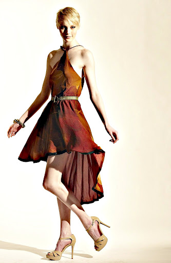 SumSara Burnt Orange Halter Dress in  Silk Chiffon