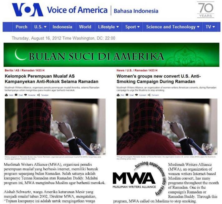 Voice of America story on MWA Ramadan Quit Smoking