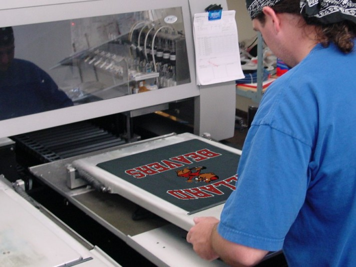 Ballard Beavers vintage logo on digital garment printer at Northwest Embroidery