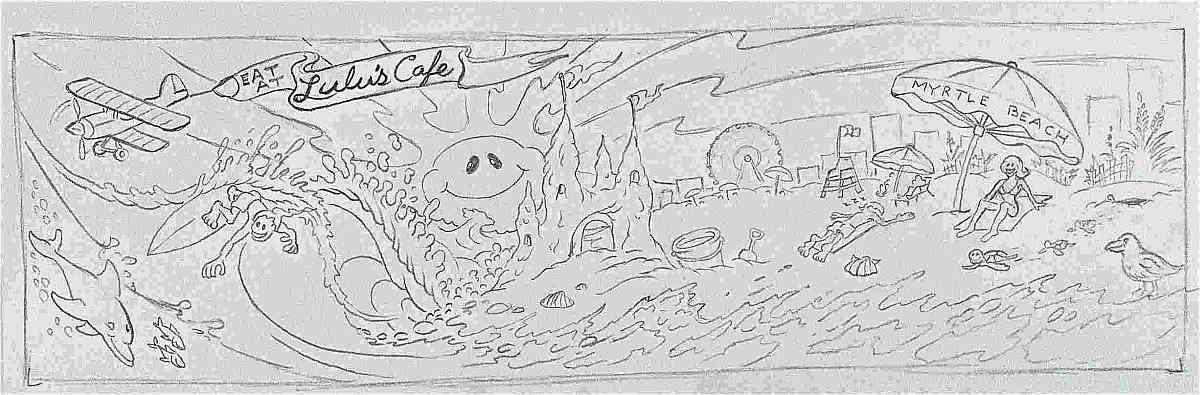 lulus cafe rough sketch of A Day at the Beach Mura