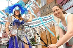Tennis player Grace Dixon, right, with carnival qu