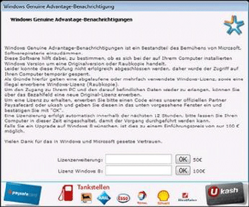 Windows Genuine Advantage Ransomware Message