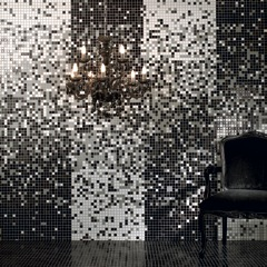 Recycled Glass Mosaic Tile Black and White