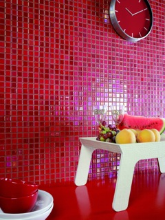 Recycled Glass Mosaic Tile Red