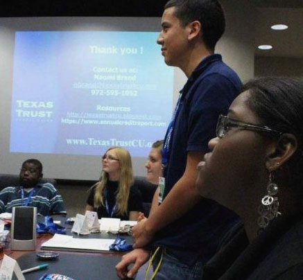 New members of Texas Trust Youth Advisory Council meet to discuss Council goals