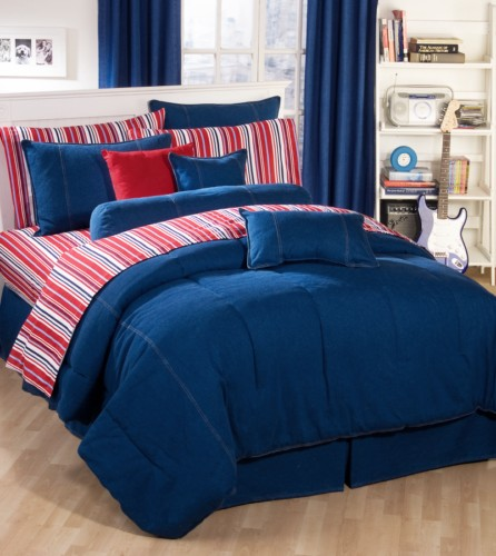 American denim bedding comforter sets and accessories - Red white and blue sheets ...