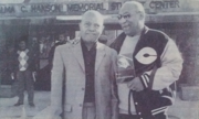 Willie T. Clay outside Memphis College with his supporter, comedian Bill Cosby