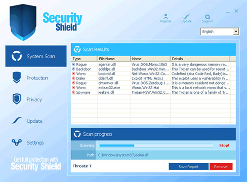 Security Shield 2012 fake antispyware program