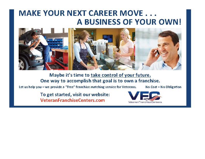 Veteran Franchise Centers ad currently appearing in Search & Employ magazine