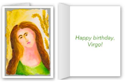 Virgo birthday card by Anne Nordhaus-Bike