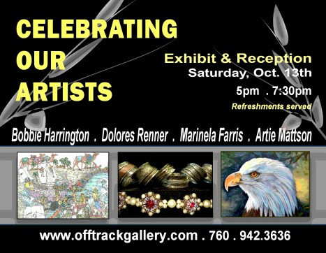 Celebrating Our Artists Oct 13th at the Off Track Gallery