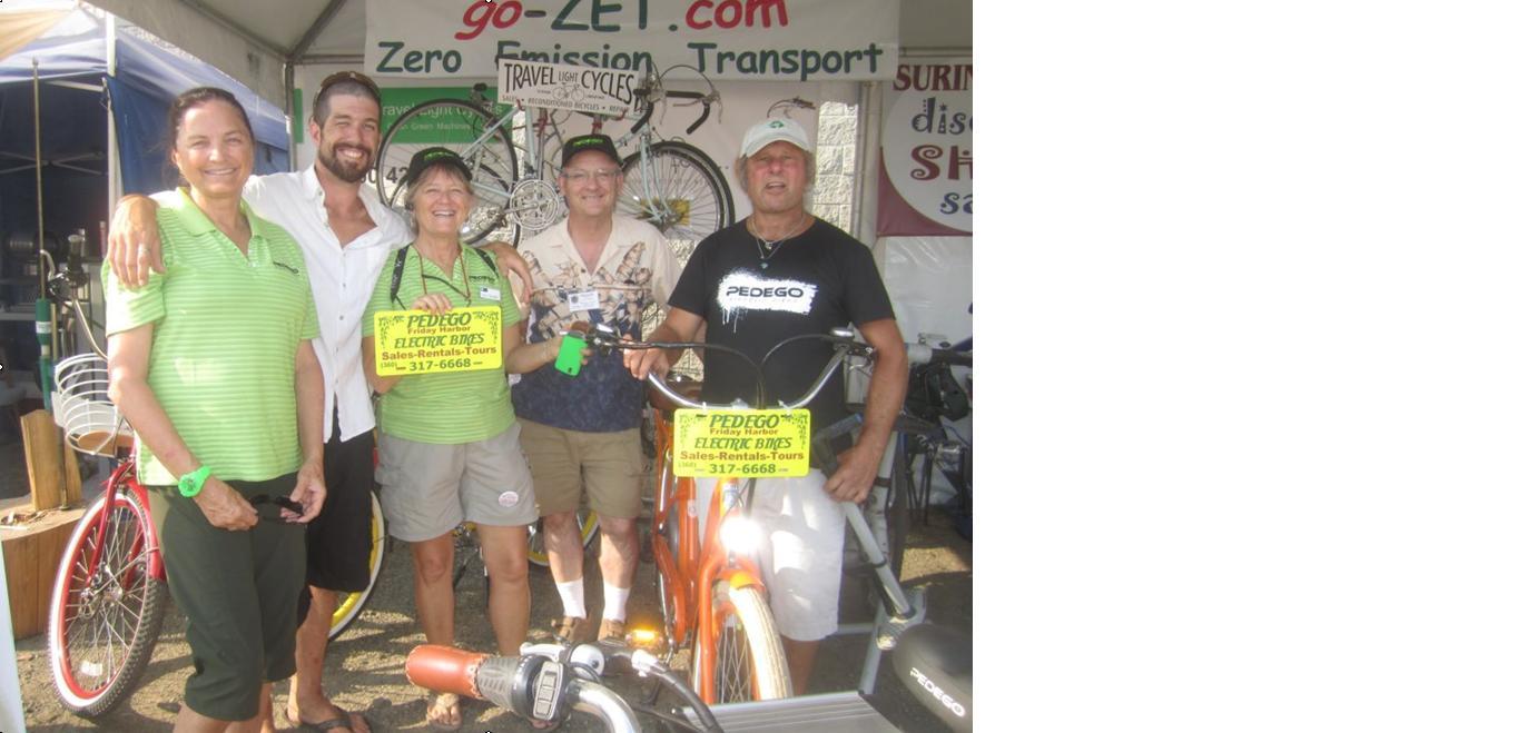 Pedego Friday Harbor owner Lynn Danaher and team. Photo by Ian Byington.