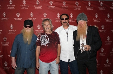 Alexander Kanellakos (bolo tie ) plus members of ZZ Top at Thunder Valley Casino