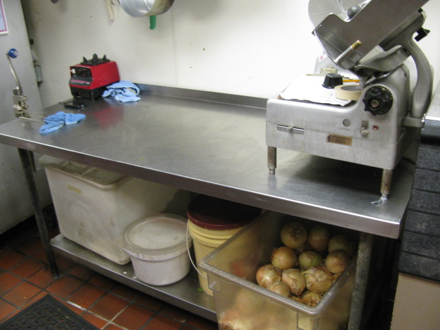 Stainless steel commercial kitchen table