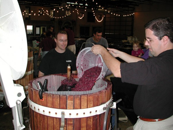 Pressing grapes at The Wine Room of Cherry Hill