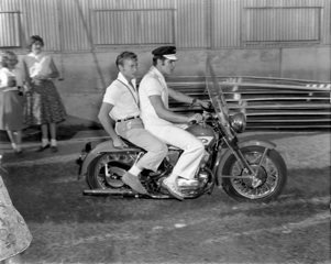 Nick and Elvis Presley on the Harley