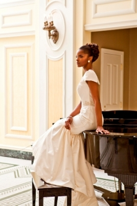 "Model wearing the ""Jacqueline"" Black Bride Collection by Therez Fleetwood"