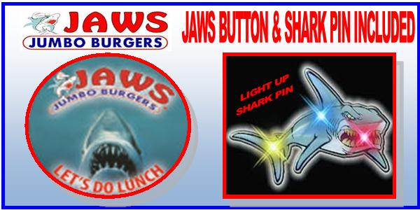 JAWS BUTTON & LIGHT UP SHARK PIN