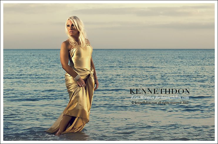 Kenneth Don full length gold dress