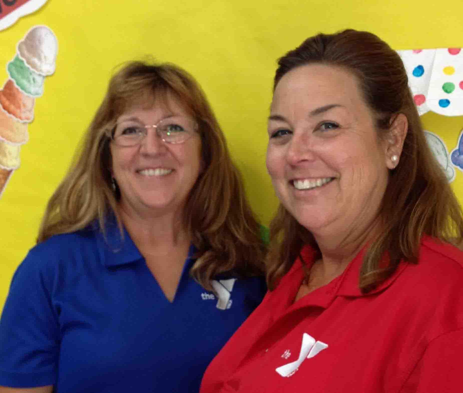 Ellen Turk (left) and Christi Galan are preschool teachers at the Miller YMCA.