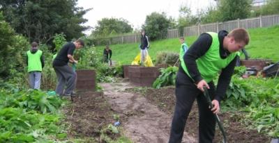 Blacon F.C. u16s helps in the garden.