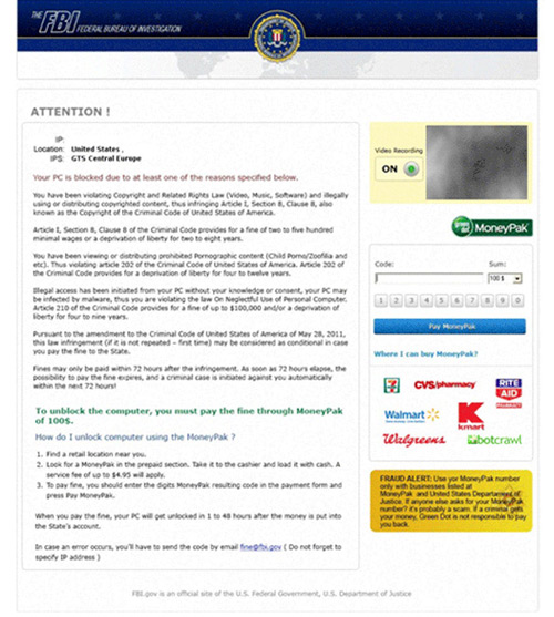 FBI MoneyPak Ransomware