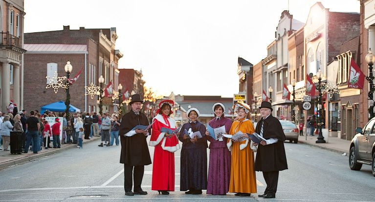 Carolers sing during Lebanon's Christmas holidays.