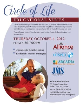 Circle of Life Education Series to be held October 6th at Hilton Garden Inn.