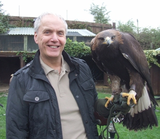 Cheshire Falconry's Steve Birchall with a Sea Eagl