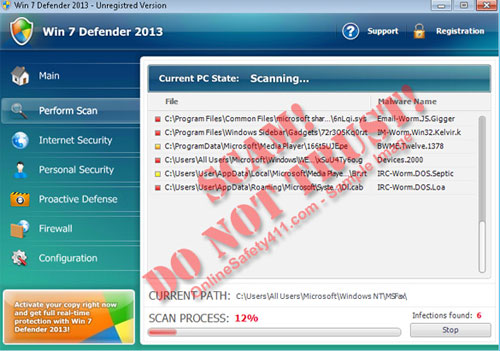 Win 7 Defender 2013 Fake Antivirus Program