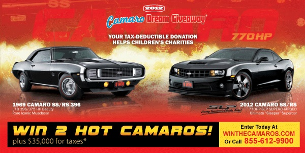 One person will win two Camaros while helping three children's charities.