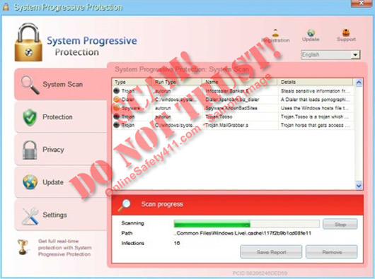 System Progressive Protection Fake Antispyware Program menu screen