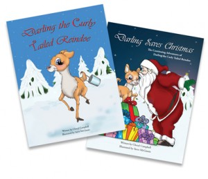 Cheryl Campbell's Christmas books featuring Darling the Curly Tailed Reindoe