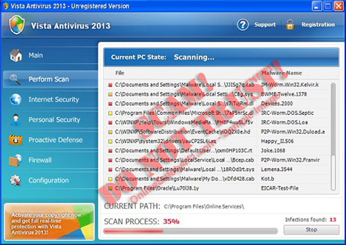 Vista Antivirus 2013 Rogue Antivirus Program interface
