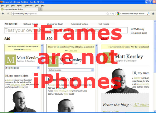 iFrames are not iPhones.