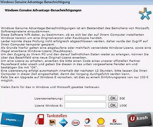 Windows Genuine Advantage Trojan Ransomware Message