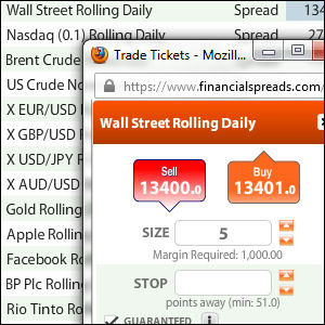 Financial Spreads Trade Ticket