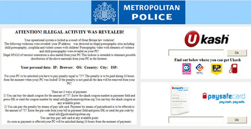 Ukash Virus Metropolitan Police Ransomware Message