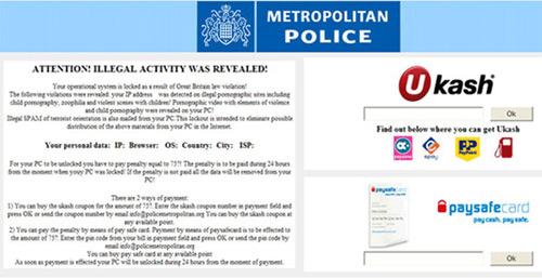 Ukash Virus Metropolitan Police Ransomware Message