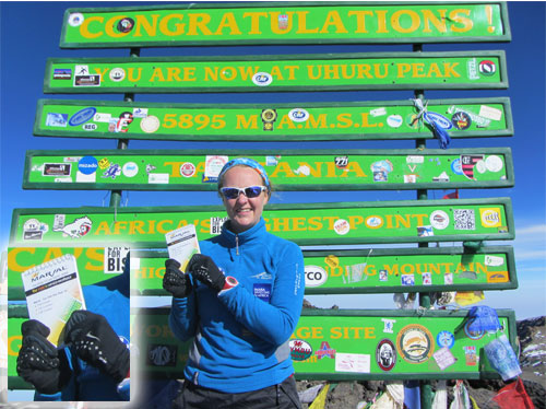 Lauren Keulemans on top of Mount Kilimanjaro